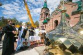27 мая. Освящение крестов и куполов строящегося храма в честь Благовещения Пресвятой Богородицы п. Нижнесортымский, Сургутского района.