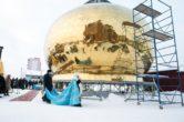 18 января. Освящение креста и купола для строящегося храма в честь Казанской иконы Божьей Матери п. Белый Яр