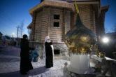 15 января. Освящение куполов и крестов строящегося храма в честь архистратига Михаила г. Нефтеюганска